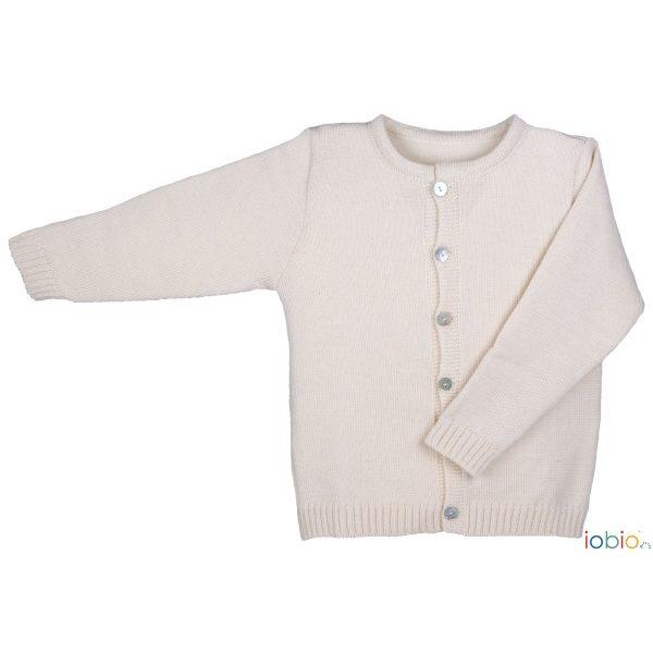 Cardigan in lana ecrù Popolini