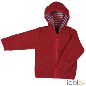 Cardigan con cappuccio bacca di lana Popolini