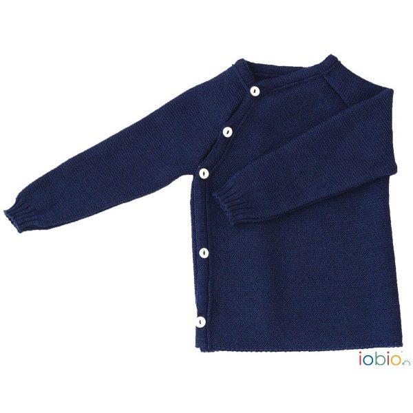 Cardigan incrociato lana blu Popolini