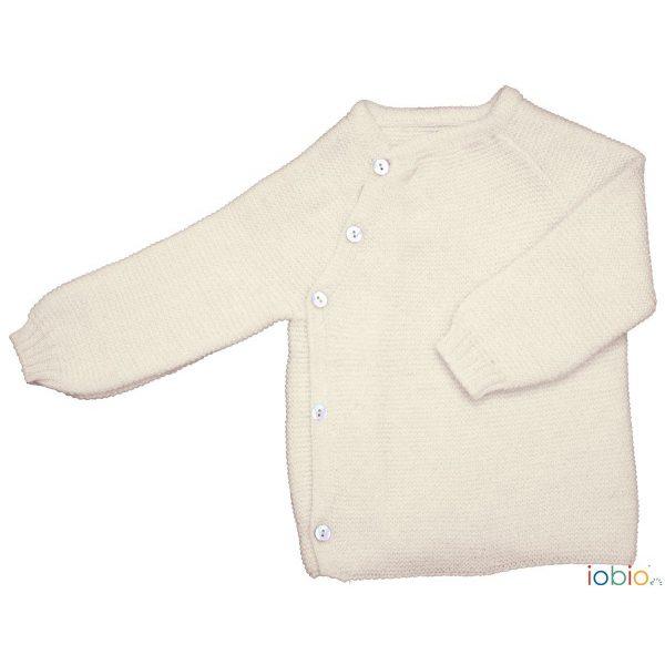 Cardigan incrociato lana ecrù Popolini