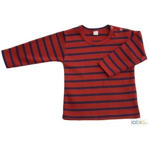 T-shirt maniche lunghe righe rosse Popolini