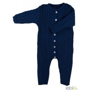 Tutina in lana blu con trecce Popolini