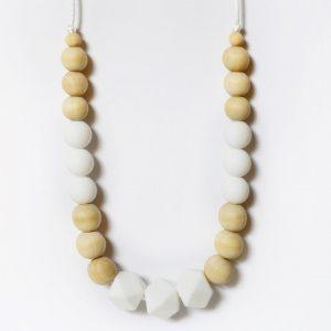 Collana allattamento dentizione bianco legno