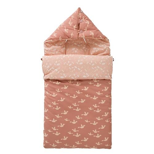 Sacco viaggio ovetto e culla bio Uccellini rosa Fresk