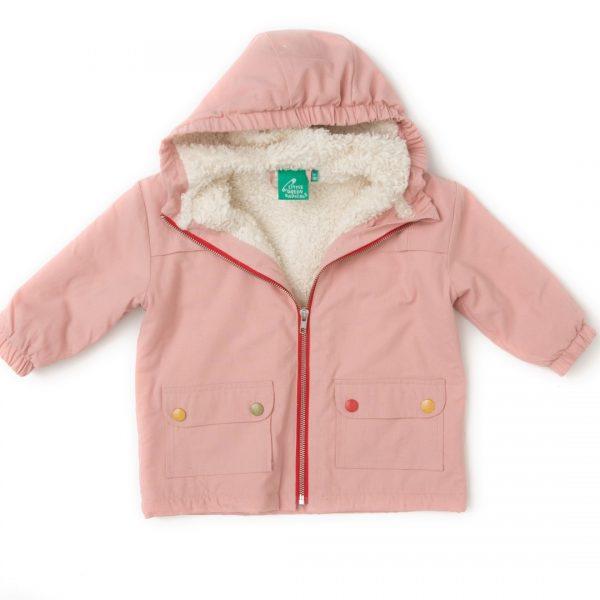 Giacca foderata in cotone sherpa rosa