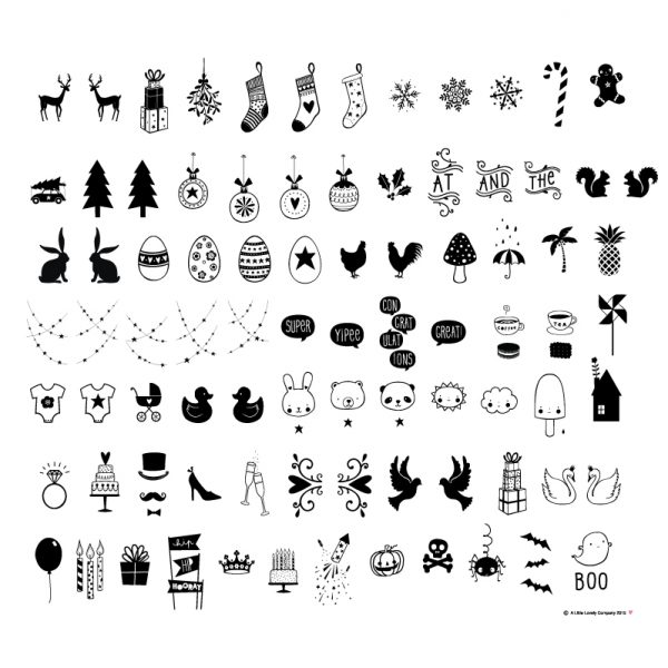 Set simboli per festività nero per Lightbox