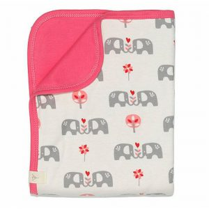 Coperta in cotone bio elefanti rosa Fresk