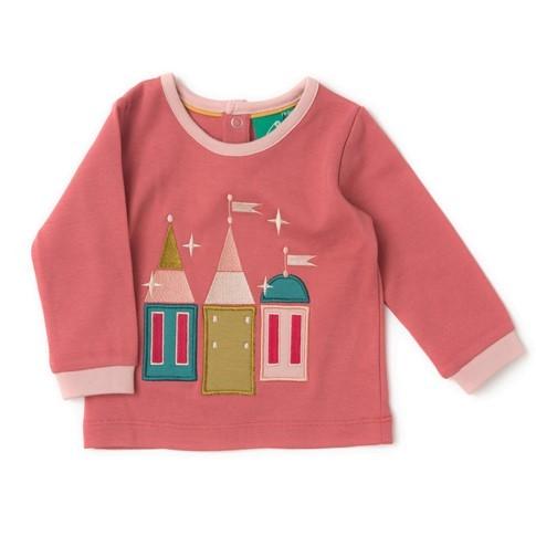 Maglietta con applicazione Castello rosa
