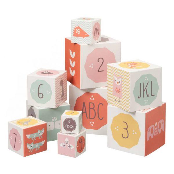 10 cubi impilabili animali rosa