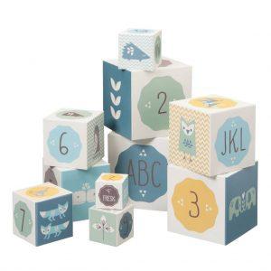 10 cubi impilabili animali blu