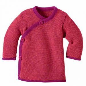 Cardigan con bottoni laterali fragola Disana
