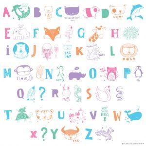 Set ABC alfabeto con figure pastello per Lightbox