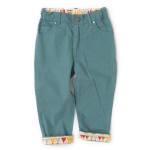 Pantaloni in tela di cotone bio blu cenere