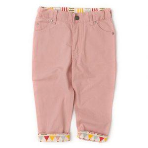 Pantaloni in tela di cotone bio rosa