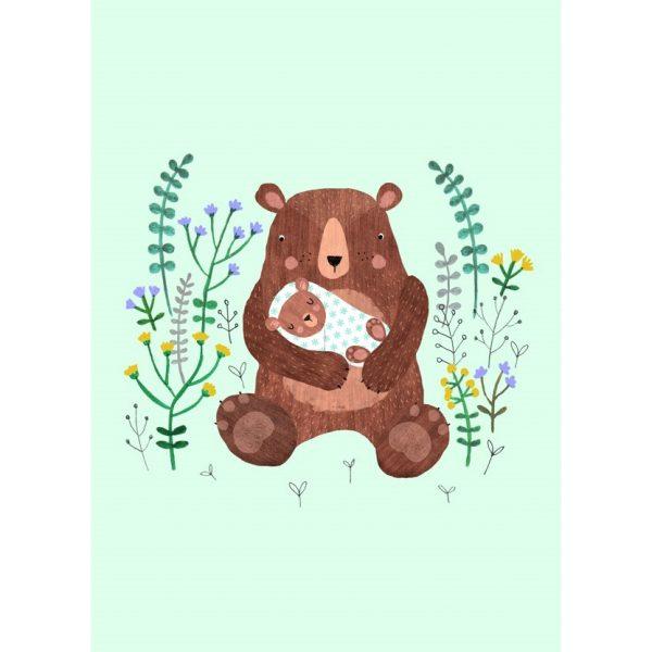 Cartolina nascita baby orso