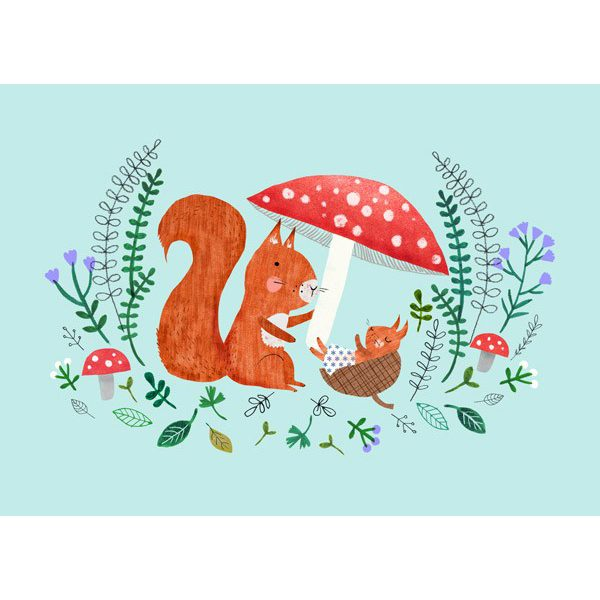 Cartolina nascita baby scoiattolo