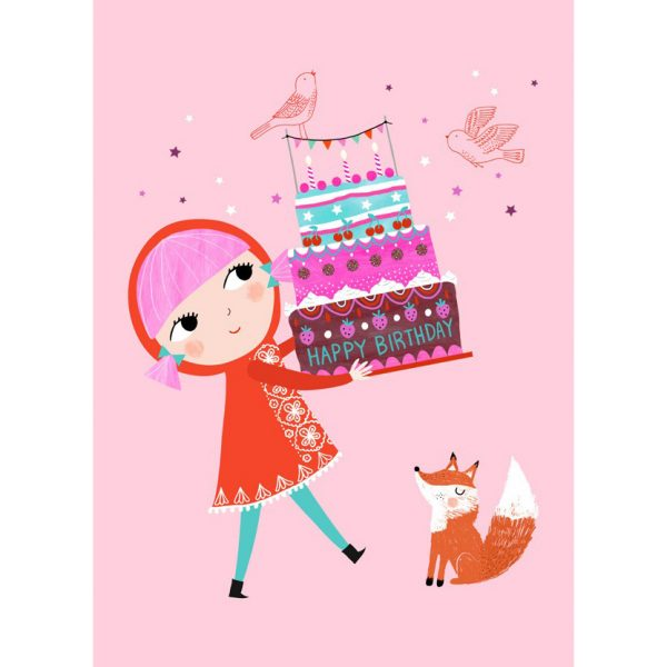 Cartolina compleanno bambina con torta
