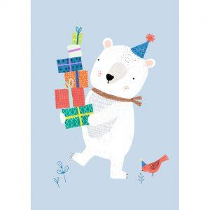 Cartolina compleanno orso con regali
