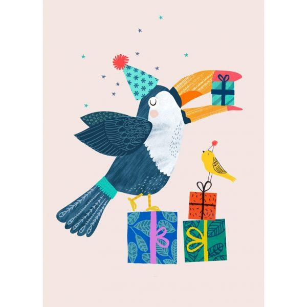 Cartolina compleanno tucano con regali