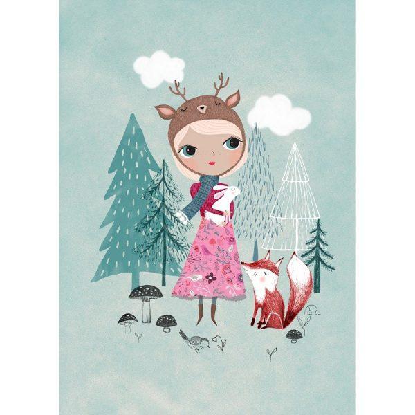 Poster deer girl mint di Rebecca Jone