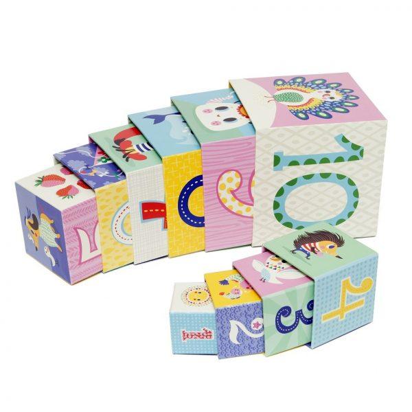 10 cubi impilabili funny animals cartonati