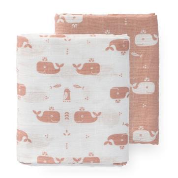 2 Teli in mussola di cotone bio balene rosa 70×60