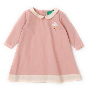 Abito bambina con colletto rosa