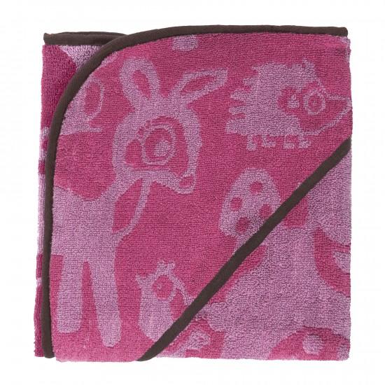Telo da bagno XL con cappuccio Forest rosa