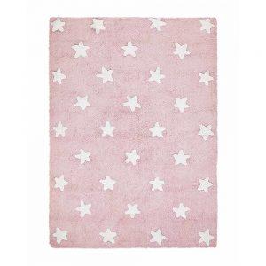 Tappeto lavabile rosa stelle bianche Lorena Canals