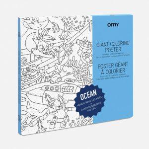 Ocean Poster Gigante da Colorare 100 x 70 cm OMY