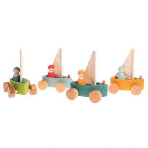 Set 4 barchette con ruote Grimm's - 4 personaggi inclusi