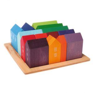 Set villaggio arcobaleno - 15 case in legno Grimm's