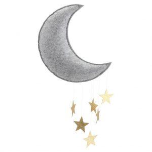 Giostrina in feltro Luna e stelle oro - personalizzabile - Konges sløjd