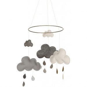Giostrina in feltro Nuvole e gocce grigio Konges sløjd