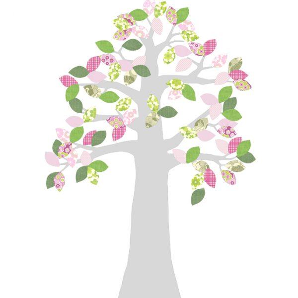 Carda da parati sagomata albero rosa INKE