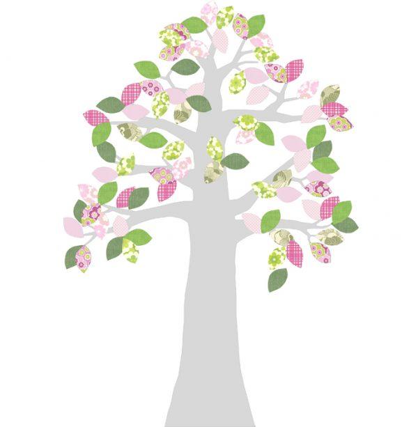 Carda da parati sagomata albero XL rosa INKE