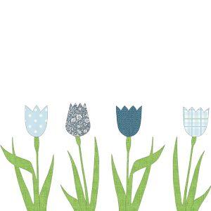 Carda da parati sagomata tulipani blu INKE