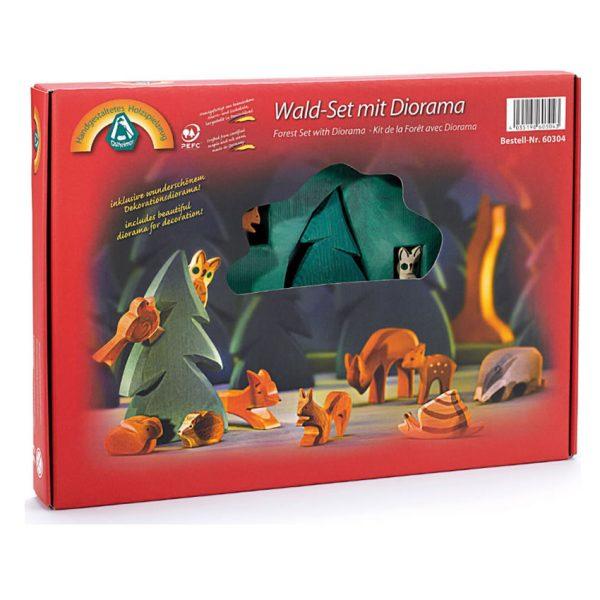 Set animali del bosco in legno con Diorama - Ostheimer