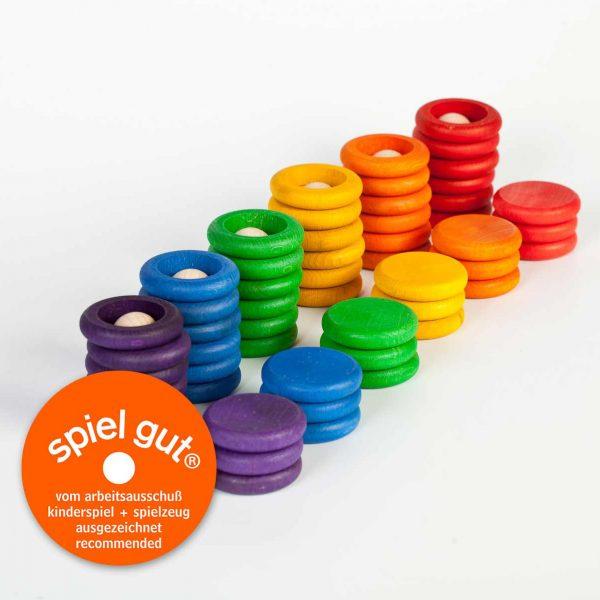 Nins®- monete - anelli legno gioco educativo Grapat