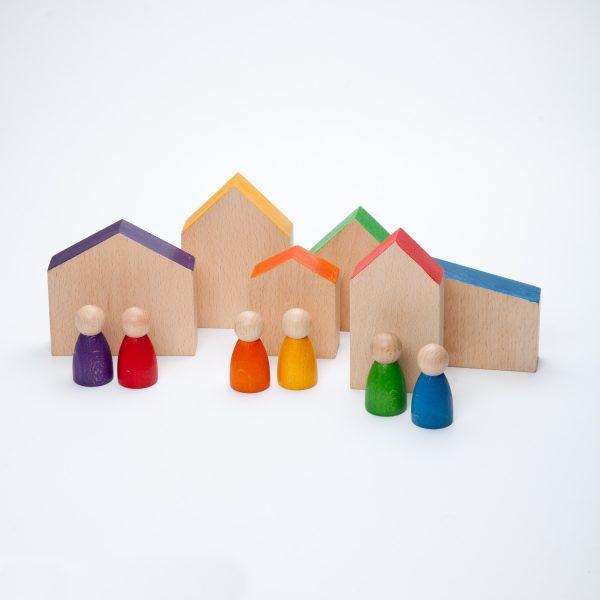 Set case omini arcobaleno legno Grapat