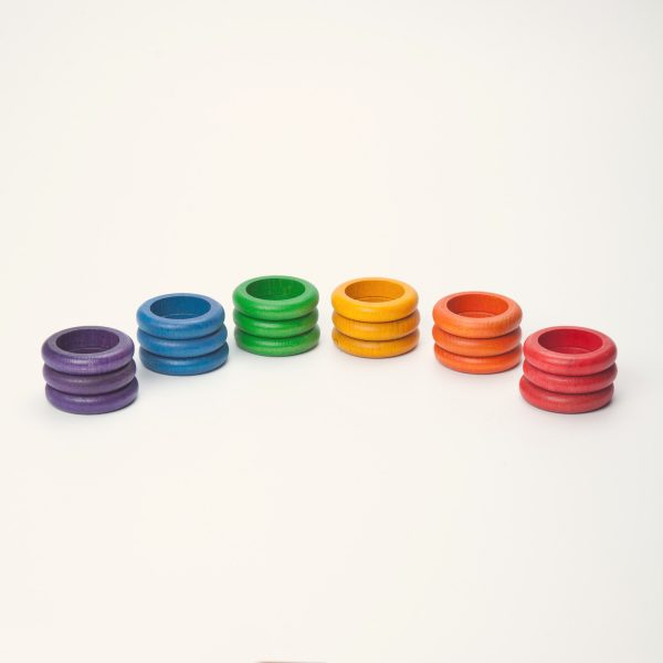 Set 18 anelli arcobaleno legno Grapat