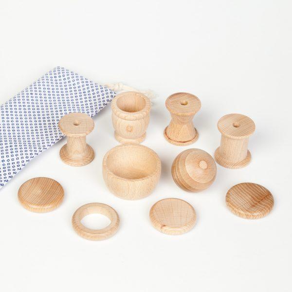 Cesto dei tesori 10 elementi legno Grapat