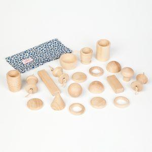 Cesto dei tesori 20 elementi legno Grapat