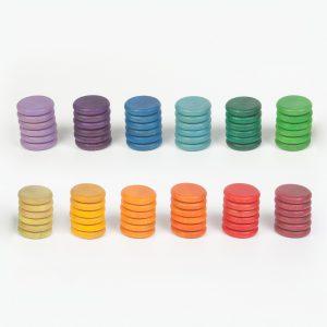 Set 72 monete arcobaleno legno Grapat