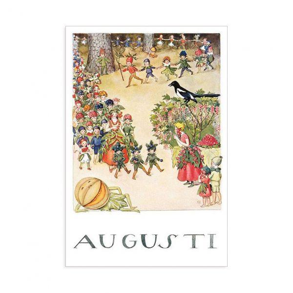Cartolina mese Agosto Elsa Beskow