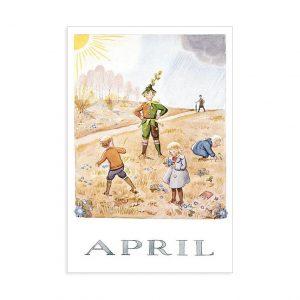 Cartolina mese Aprile Elsa Beskow
