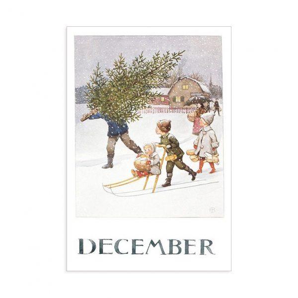 Cartolina mese Dicembre Elsa Beskow