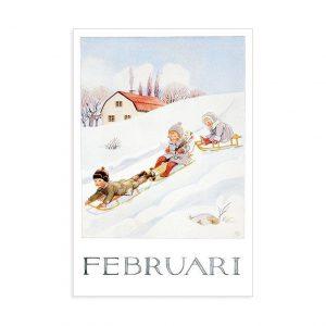 Cartolina mese Febbraio Elsa Beskow