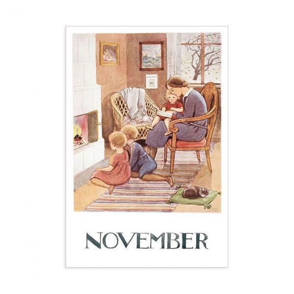 Cartolina mese Novembre Elsa Beskow