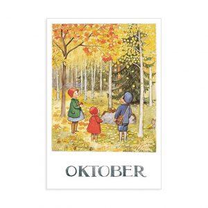 Cartolina mese Ottobre Elsa Beskow